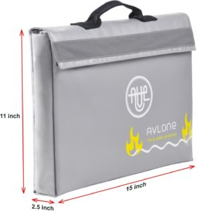 Fireproof and Waterproof Money and Important Documents Bag with Reflective Band and Double Closure